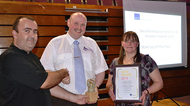 Enabled Works receiving the New Start Social Enterprise award in 2013